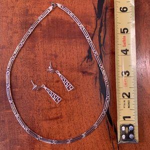 Jewelry - 925 Sterling Silver Greek Key Necklace & Earrings